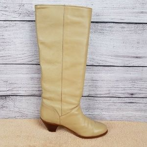 FRYE Heeled Leather Riding Boots Beige Pull On 7M